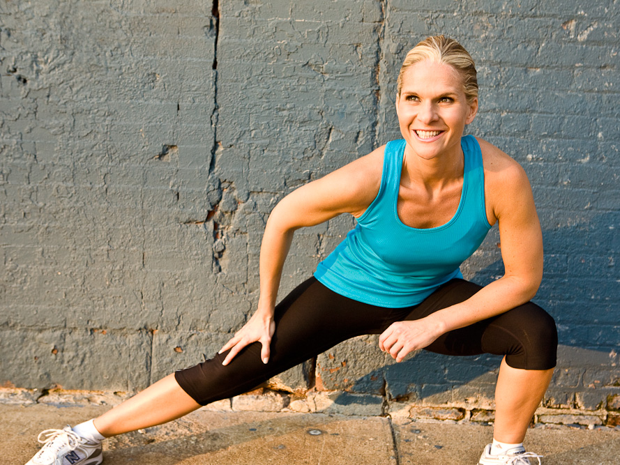 side lung long stretch runner smile