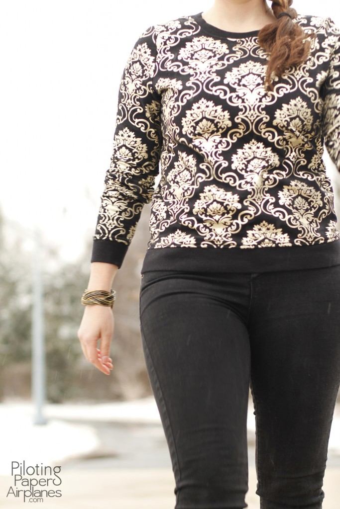 Gold filigree sweatshirt {PIlotingPaperAirplanes.com} Outfit of the day